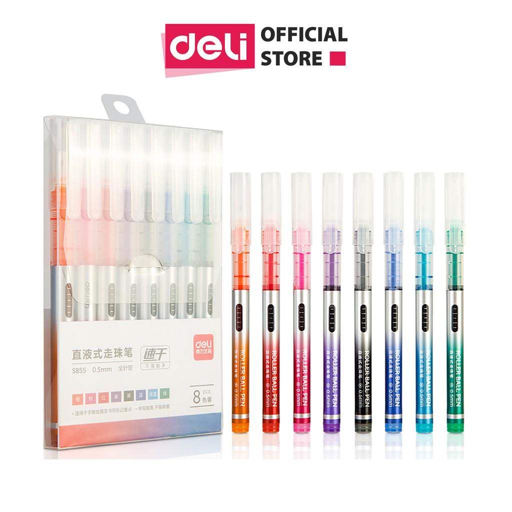 Bút gel nhiều màu Deli - 0.5mm - Mực trơn đều - 8 màu 8 chiếc/Hộp - 1 hộp - S855