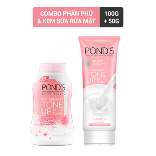 Combo kem sữa rửa mặt Pond s White Beauty 100g và phấn phủ nâng tông Pond s White Beauty 40g