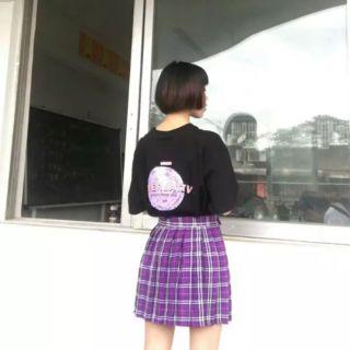 Chân váy tennis caro tím HOT kiểu Hàn cực xinh