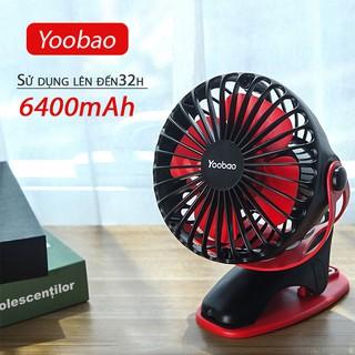 Quạt kẹp YOOBAO F04 xoay góc 360 độ, Quạt kẹp xe đẩy, để bàn pin sạc 6400mAh, chạy liên tục tới 32 tiếng
