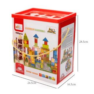 Bộ đồ chơi xếp hình gỗ 100 miêng