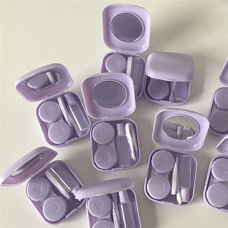 Hộp đựng kính áp tròng hình viên thuốc màu tím đơn giản sáng tạo