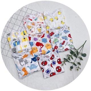 Áo cotton giấy dài tay cúc giữa cho bé từ 4-16kg thumbnail