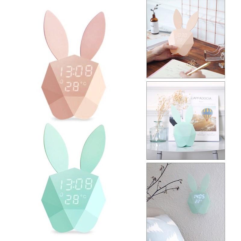 kiss* Multifunctional USB Smart Alarm Clock Simple Design Cute Rabbit Head USB Clock