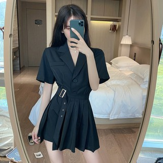 2020 summer new fashion suit collar single-breasted slim slim coat + pleated girdle western suit trend