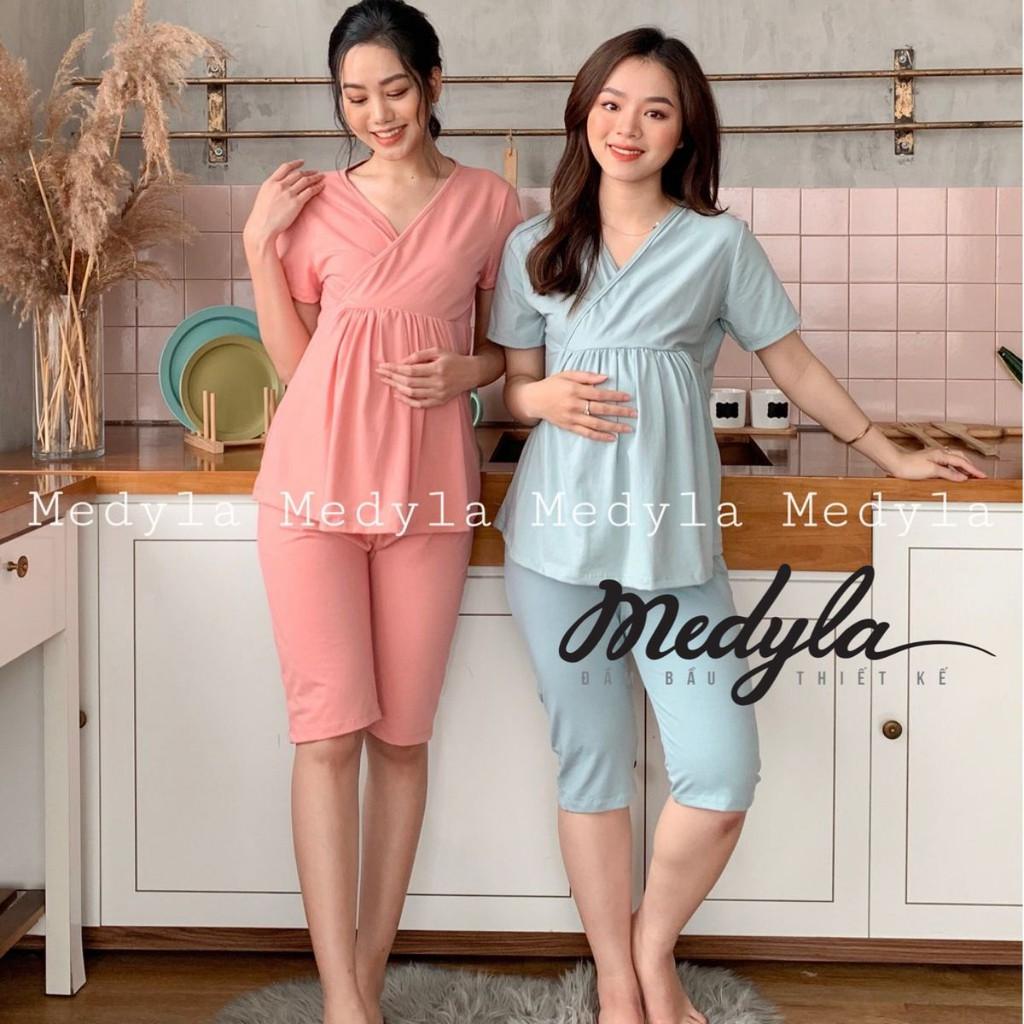 Bộ bầu mặc nhà mùa hè ngắn tay - Đồ bầu sau sinh cotton thoáng mát thiết kế Medyla