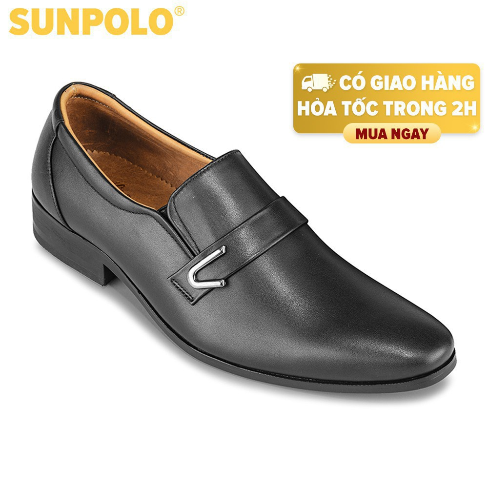 [Sale 3/3]Giày Tây Nam Da Bò SUNPOLO Đen Nâu - SUKT116DN -x13