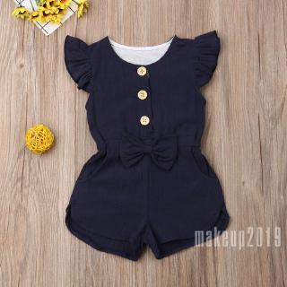 Mu♫-Toddler Kids Girls Cotton Short Romper Bodysuit Jumpsuit Clothes Outfit Sunsuit