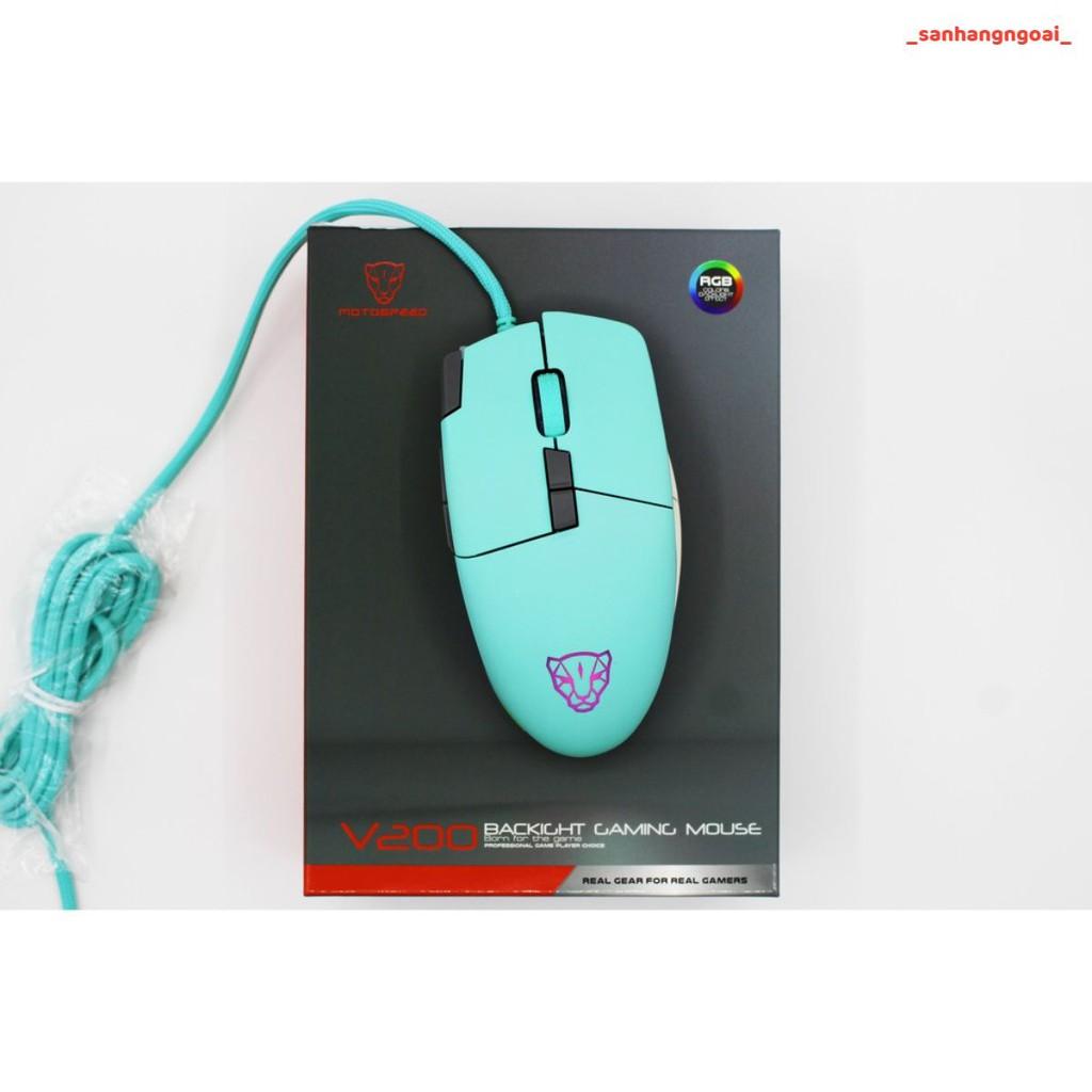 CHUỘT MOTOSPEED V200 (XANH) Gaming mouse có LED RGB thay đổi theo DPI - hàng chính hãng