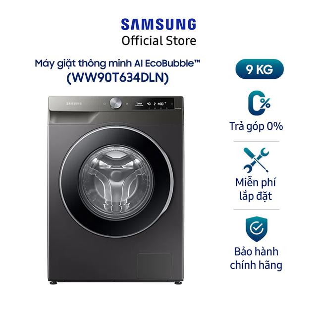 [Mã ELMALL1TR giảm 5% đơn 3TR] Miễn phí công lắp đặt_Máy giặt Samsung AI Inverter 9Kg WW90T634DLN/SV