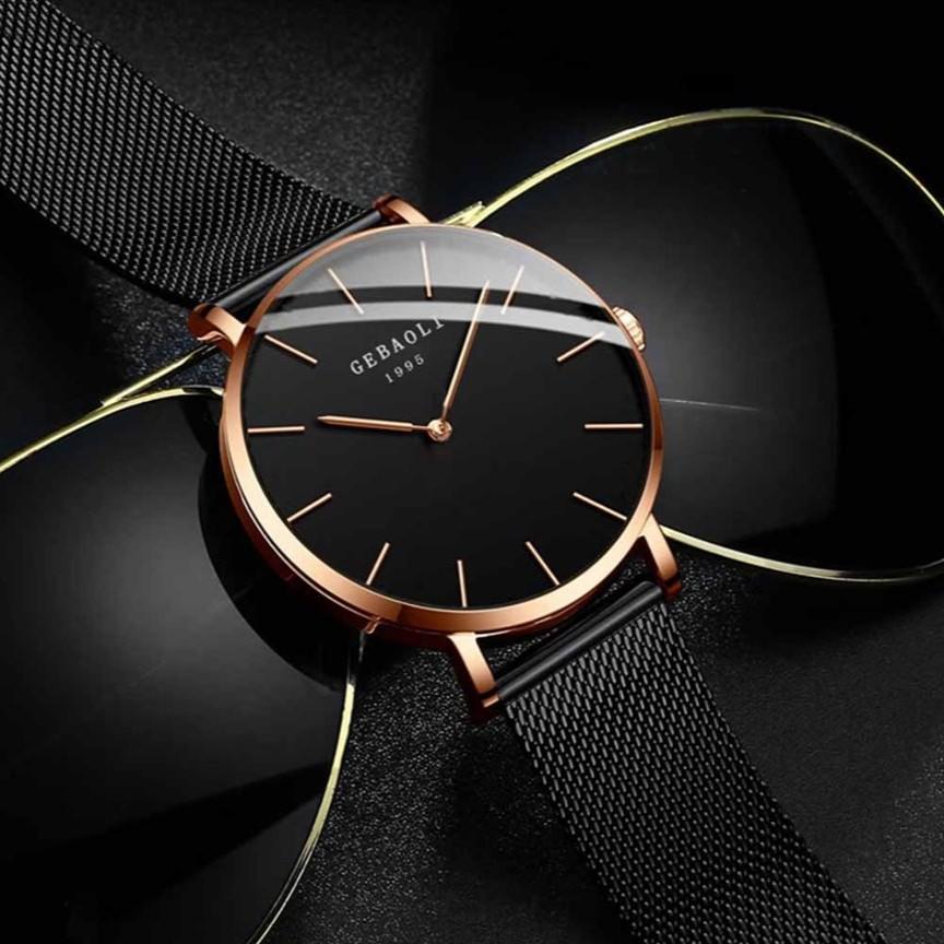 Đồng hồ nam GEBAOLI 1995 thời trang, lịch lãm, dây thép nhuyễn tuyệt đẹp, mặt mỏng, 2 kim độc đáo ( Mã: AGEB01 )