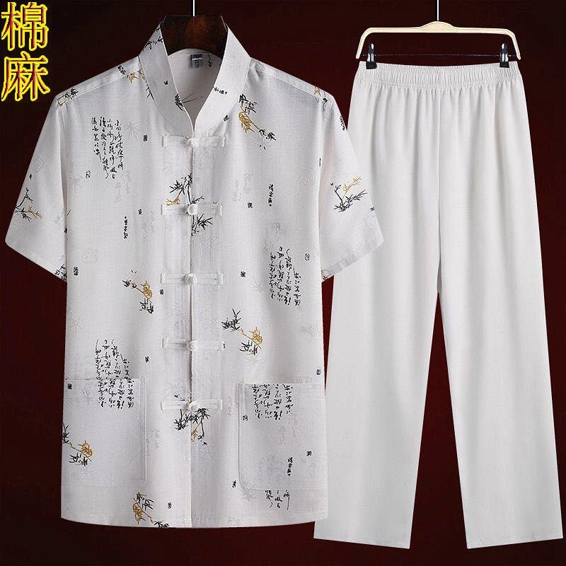 Set áo sơ mi tay ngắn + quần dài lưng thun dành cho nam đứng tuổi