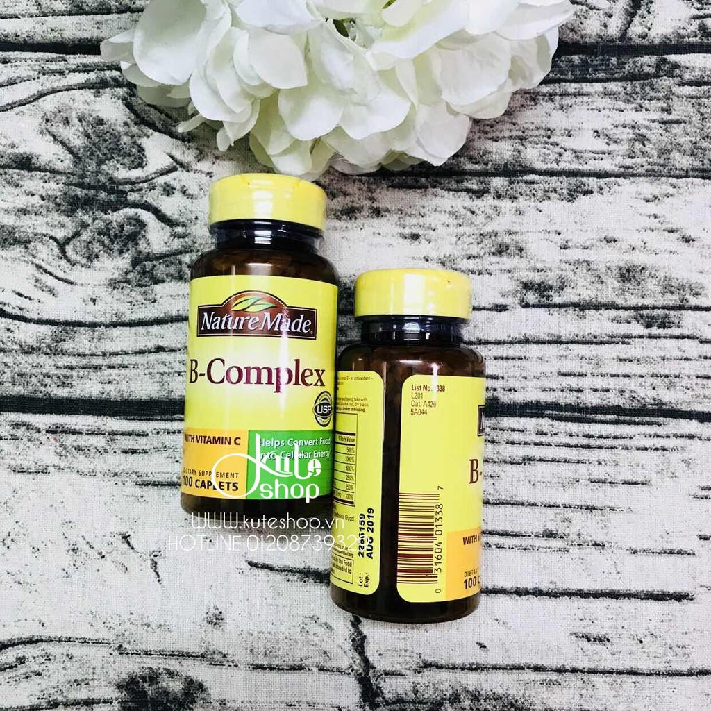 Viên uống bổ sung vitamin nhóm B Nature Made B-Complex with Vitamin C 100 viên