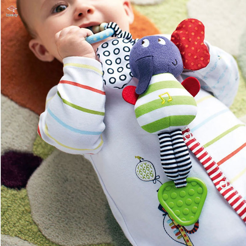 Ready Stock Cute Music Elephant Bell Rattles Toy Safety Baby Soft Plush Stroller Dolls Toys