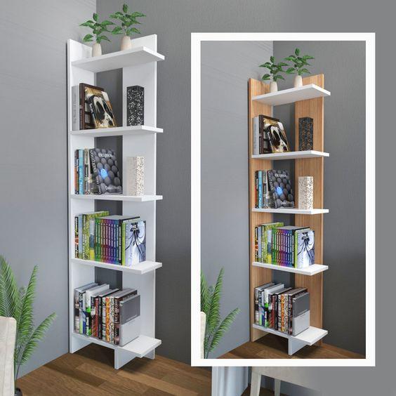 Kệ sách đa năng 5 tầng bằng gỗ-Kệ gỗ góc tường 5 tầng bằng gỗ đa năng