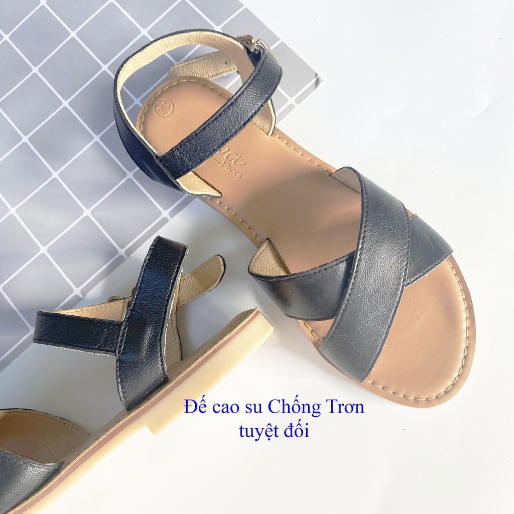 Giày sandal đế bệt chất DA BÒ, mũi tròn, quai hậu, khóa cài phù hợp đi học, công sở hàng ngày S006