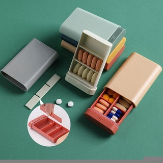 [COD] Portable Medicine Box Compartment Sealed Divided Pill Box Travel Sub-packing Pill Case