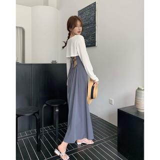 Style Strap Dress Women's Summer 2021 New Medium Long Skirt Back Backsper Temperament Waist Skirt