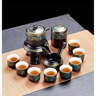 Bộ trà cối xay cung đình gồm 1 hũ đựng trà, 1 ấm trà, 8 chén trà và 1 bộ cối xay
