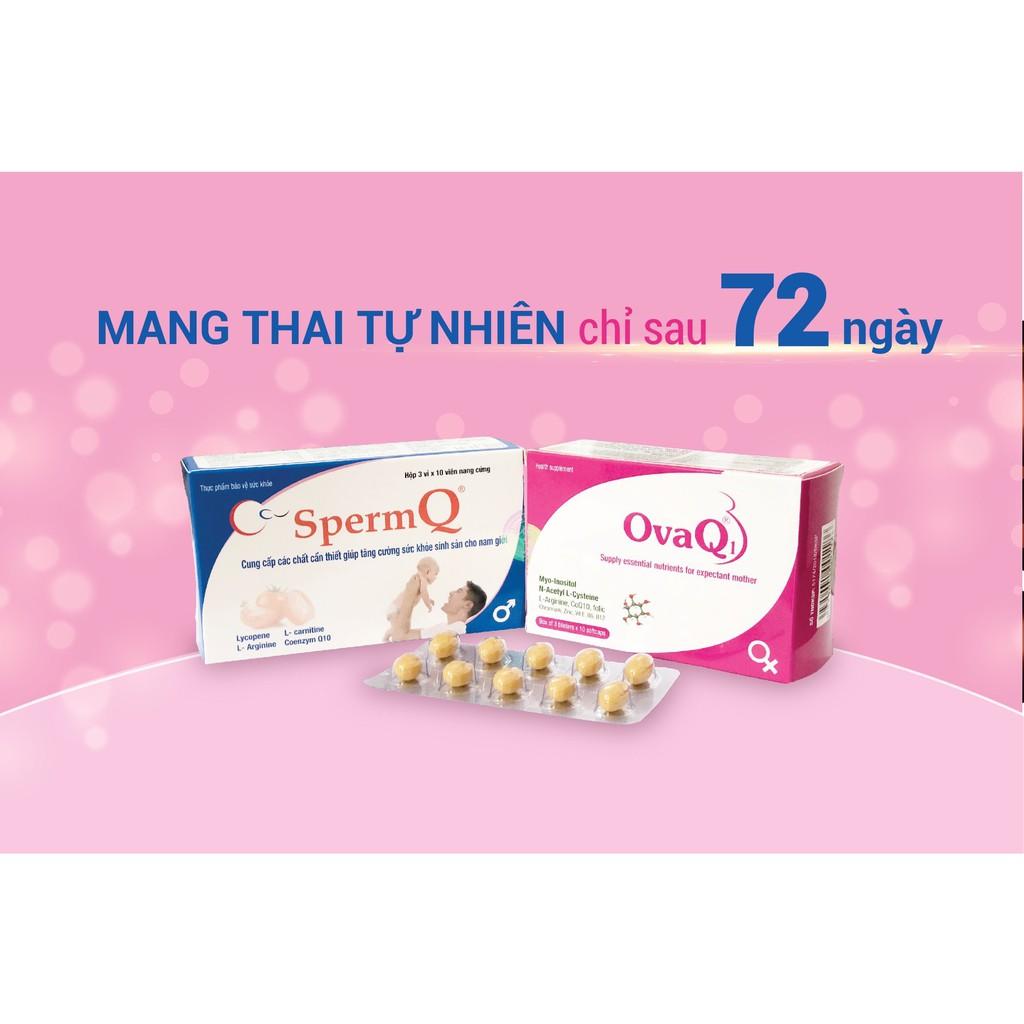 (60 viên) OvaQ1 SpermQ - Mang Thai Tự Nhiên, Hỗ trợ vô sinh, đa nang buồng trứng