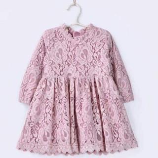 Đầm váy công chúa ren dài tay bé gái từ 7kg đến 17kg(màu Hồng tím-Trắng-Xanh đậm, đen)