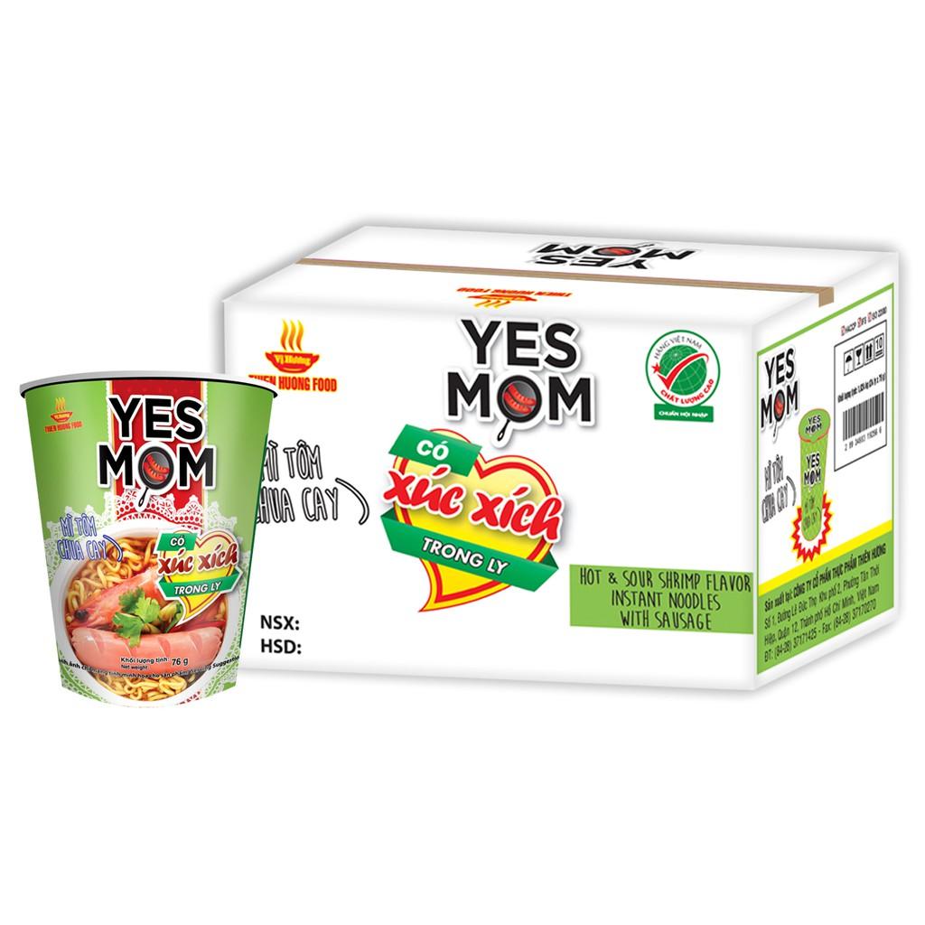 Thùng 24 ly Mì Tôm Chua Cay Yes Mom Có Xúc Xích 76g/ly