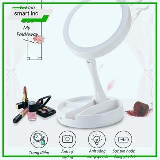 Gương Makeup Trang Điểm Để Bàn 👄FREESHIP👄 Gấp Gọn Xoay 270 Độ Có Đèn Led Sử Dụng 4 Pin Aa 17x17x6cm