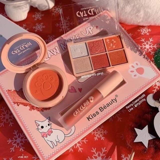 🐾 Set Bộ Trang Điểm Cao Cấp 3in1 Cat Claw Make-up Kiss Beauty ( Phấn Má + Phấn Mắt + Son Kem ) - Y86