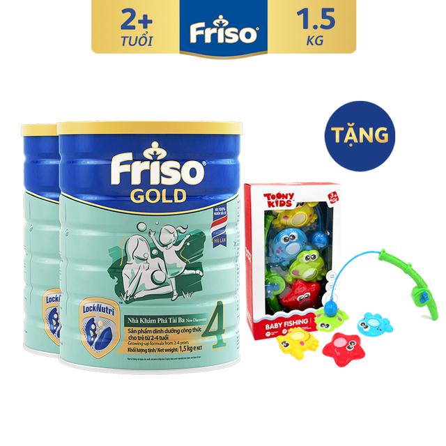 [Tặng Bộ Câu Cá Toonykids] Combo 2 Lon Sữa Bột Friso Gold 4 (1500G/Lon)