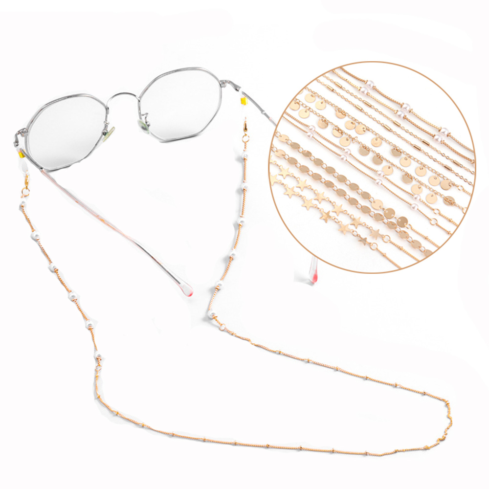 MXFASHIONESTORE Fashion Reading Glasses Chain Eyewear Jewelry Glasses Clips Face Mask Necklace Anti-lost Neck Straps Metal Beads Sunglasses Cords For...
