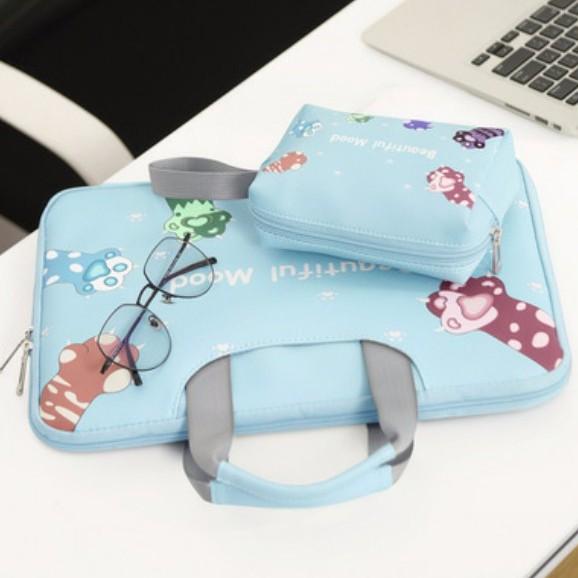 Cặp Đựng Laptop, Macbook BUBM Chính Hãng da PU có đai gài hành lý, chống sốc tuyệt đối- Hình chân mèo