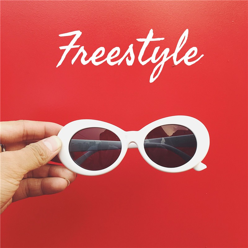 ◈❏White box ulzzang sunglasses female tide ins disco dancing with glasses bridge, male hip-hop hiphop