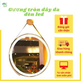 Gương tròn dây da Simili D60 Led có cảm ứng và có cảm ứng cao cấp