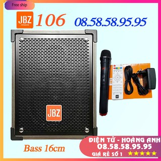 Loa kéo JBZ 106-Bass 1.6 tấc(16cm)CS-200W+1 Micro Không Dây+Remto+1 adapter sạc+dây tín hiệu tivi