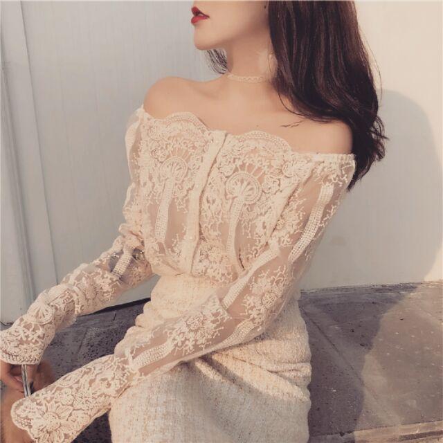 Áo ren nữ, dài tay, trễ vai kiểu dáng thời trang