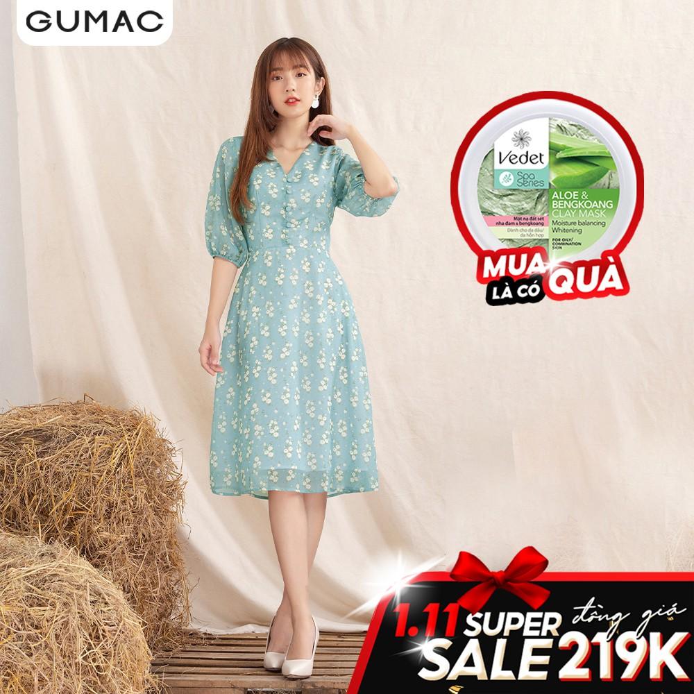 Đầm hoa cổ V nút bọc GUMAC DA1005