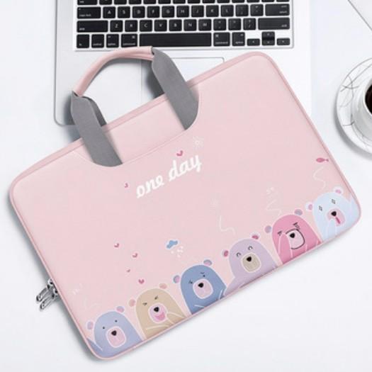 Cặp Đựng Laptop, Macbook BUBM Chính Hãng Có đai gài hành lý chống sốc tuyệt đối -Hình gấu