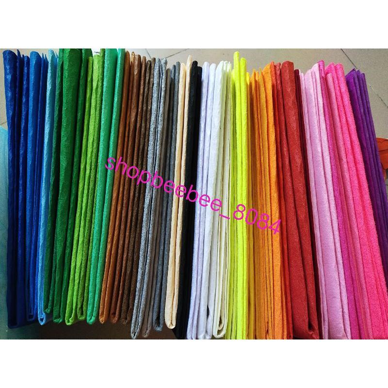 Vải dạ màu ( vải nỉ cứng)khổ 45*45 cm( giá sỉ)kèm bảng màu ảnh cuối cùng