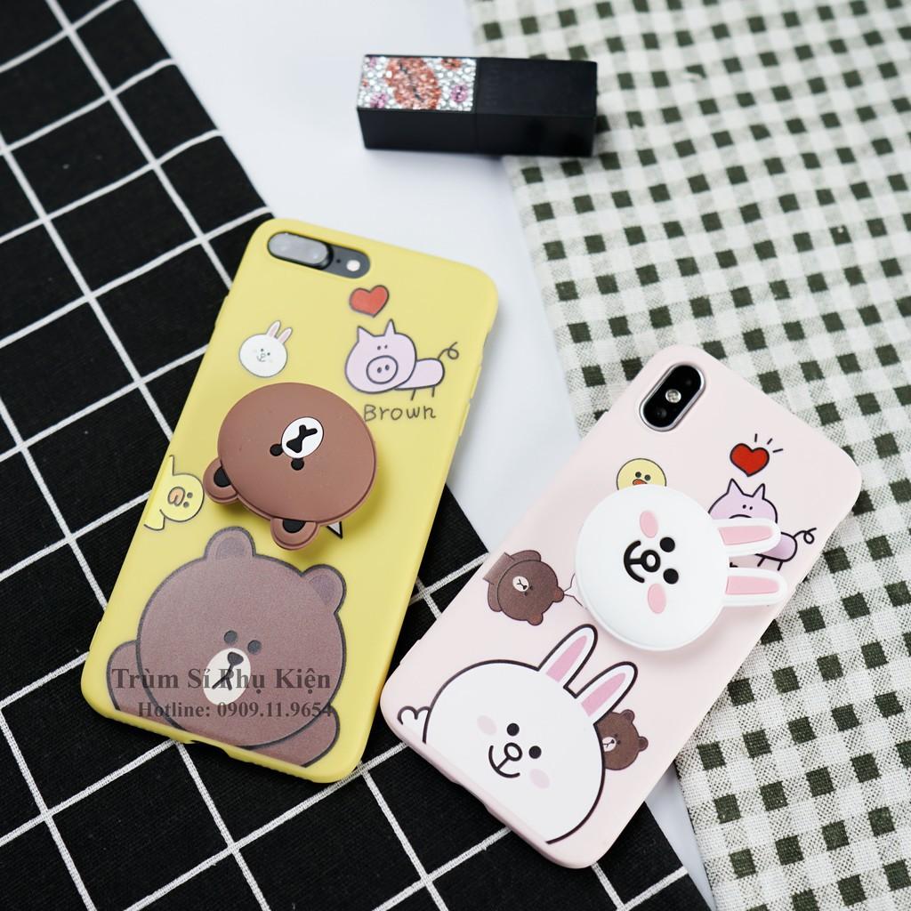 [Clip Thật] Ốp Lưng Iphone Brown-Cony Kèm Pop