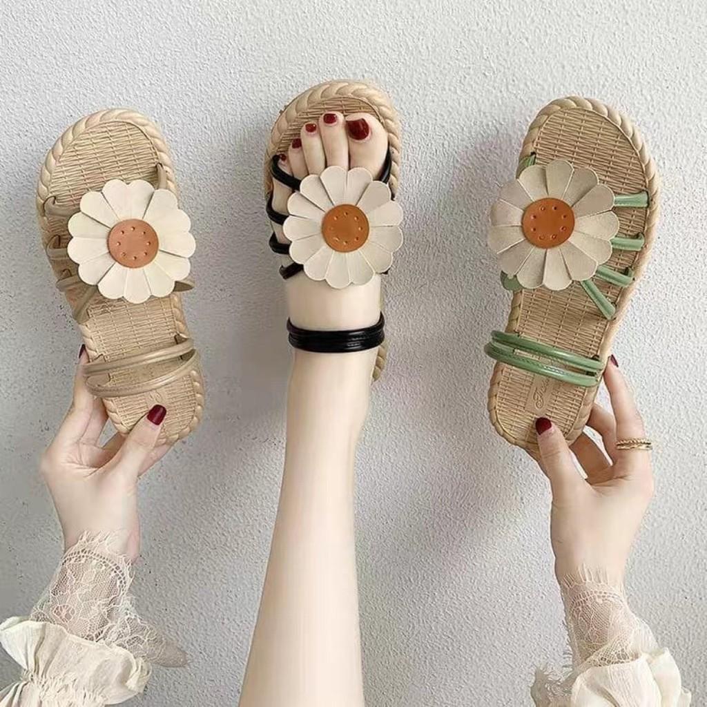 sandal nữ quai hướng dương đế giả cói siêu xinh