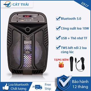 Loa bluetooth Cát Thái U317 âm thanh HIFI, tặng kèm micro karaoke, công nghệ TWS kết nối 2 loa cùng lúc, đèn LED 7 màu
