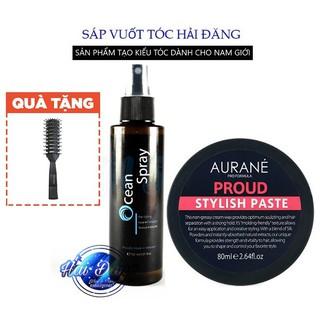 [CHÍNH HÃNG-TẶNG LƯỢC] COMBO Sáp vuốt tóc Aurane Proud Stylish Paste  + Xịt tạo phồng Ocean Spray 120ml