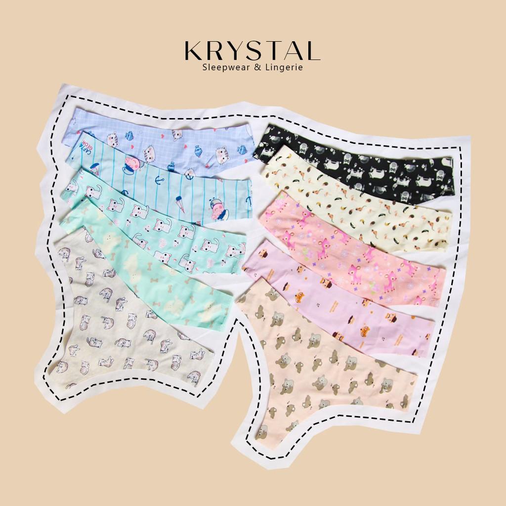 Quần lót su cute lưng vừa in hình họa tiết KRYSTAL NK07