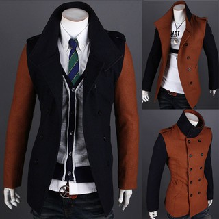 Men's Slim-fit color stitching double-breasted trench coat 7549