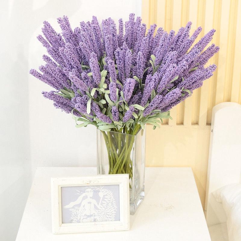 YJ★Home Decoration For Wedding Bridal Silk Flower High Simulation 12 Heads Lavender