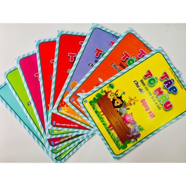 (SALE mọi lứa tuổi) Bộ 8 quyển tập tô màu hình siêu to dành cho bé 3-4 tuổi, 4-5 tuổi, 5-6 tuổi