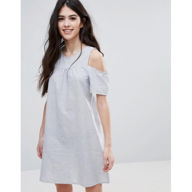 Váy kẻ suông khoét vai Asos