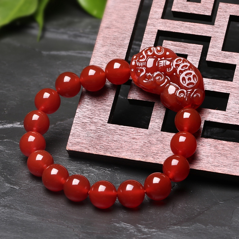 Natural Three Money Red Agate Bracelet Money Men And Women's