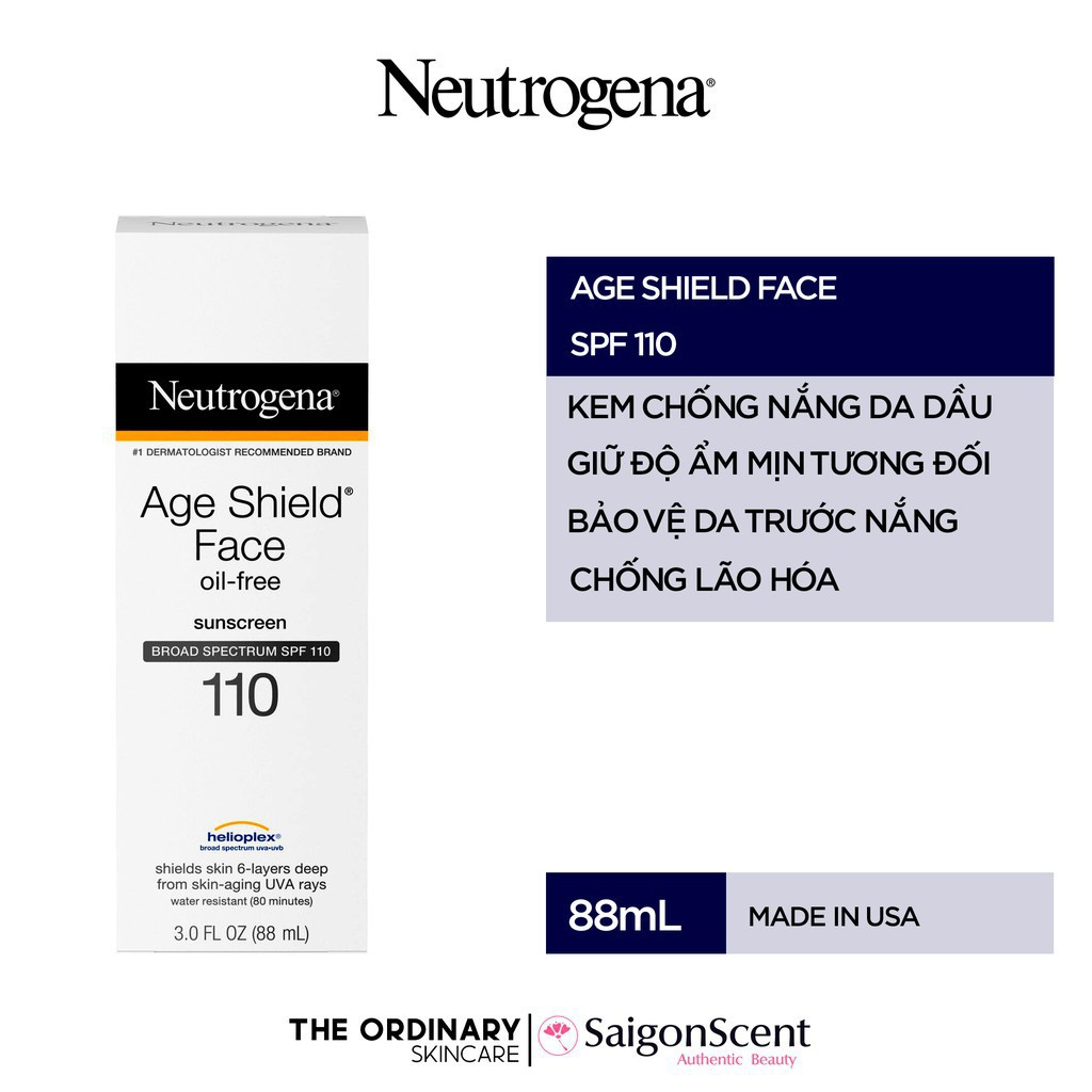 Kem chống nắng Neutrogena Age Shield Face Oil-Free Lotion SPF 110 ( 88mL )