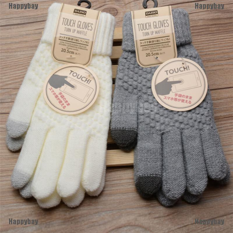 Happybay 2017 knitted Winter  Warm Wool Gloves Touch Screen Gloves Man Women Winter Gloves
